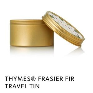 Thymes Frasier fir tin travel size candle scented
